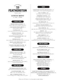 LUNCH MENU - The Featherston