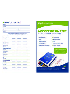 MOSFET DOSIMETRY - Best Medical Canada