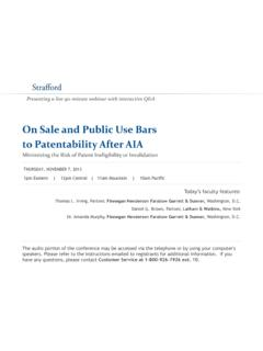 On Sale and Public Use Bars to Patentability After AIA