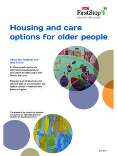 Advice for older people Housing and care options for older ...