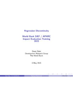 Regression Discontinuity World Bank SIEF / APHRC Impact ...