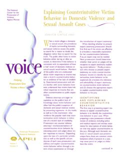 Behavior in Domestic Violence and Sexual Assault Cases