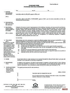 STANDARD FORM PURCHASE AND SALE AGREEMENT