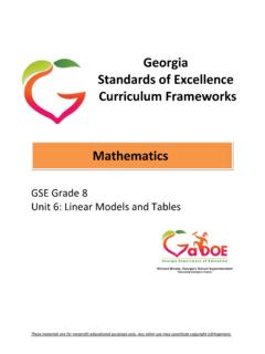 Georgia Standards of Excellence Curriculum …