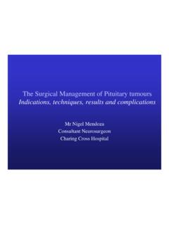 The Surgical Management of Pituitary tumours Indications ...