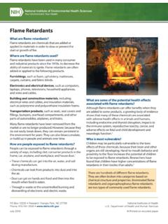 Flame Retardants Fact Sheet - National Institute of ...