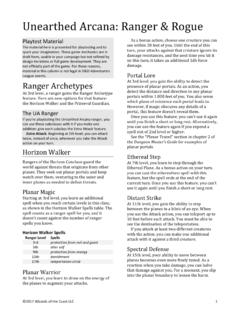 Unearthed Arcana: Ranger & Rogue - Wizards Corporate