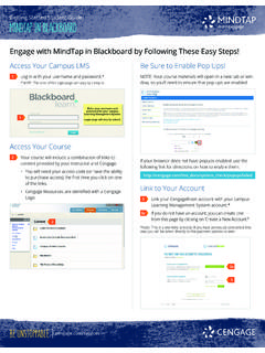 Getting Started Student Guide: MindTap in Blackboard