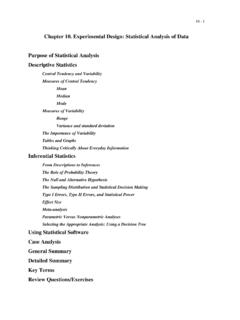Chapter 10. Experimental Design: Statistical Analysis of ...