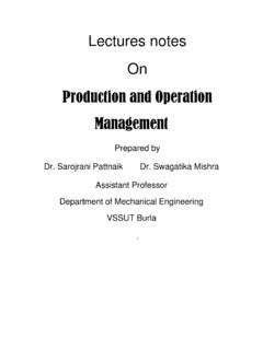 Lectures notes On Production and Operation …