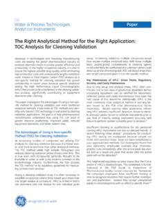 The Right Analytical Method for the Right …