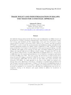 TRADE POLICY AND INDUSTRIALISATION IN …