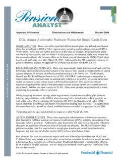 DOL Issues Automatic Rollover Rules for Small …
