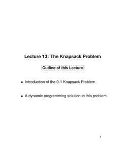 Lecture 13: The Knapsack Problem - Electronic Systems
