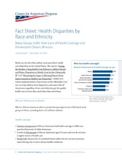 Fact Sheet: Health Disparities by Race and Ethnicity