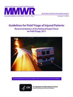 Guidelines for Field Triage of Injured Patients