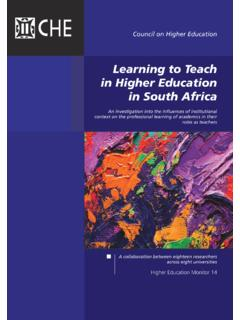 Learning to Teach in Higher Education in South …