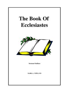 The Book Of Ecclesiastes - Executable Outlines - …