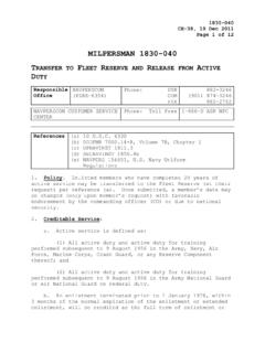 MILPERSMAN 1830-040 TRANSFER TO FLEET RESERVE AND …