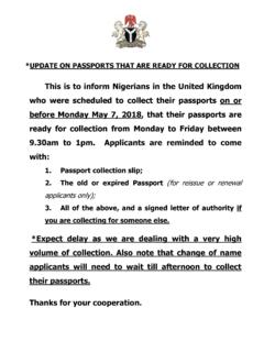 *UPDATE ON PASSPORTS THAT ARE READY FOR …