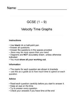 Name: GCSE (1 – 9) Velocity Time Graphs - Maths Genie