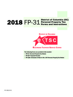 2018 FP-31Forms and Instructions District of Columbia (DC ...