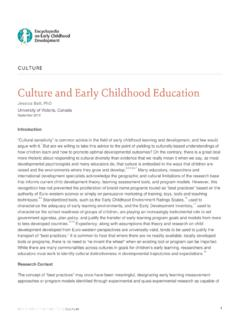 Culture and Early Childhood Education