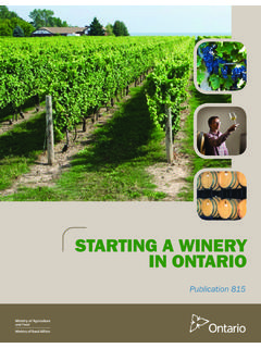 STARTING A WINERY IN ONTARIO - Ministry of …