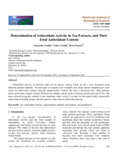 Determination of Antioxidant Activity in Tea Extracts, and ...