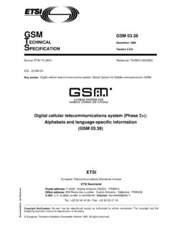 GSM 03.38 - Version 5.0.0 - Digital cellular ...
