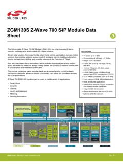 ZGM130S Z-Wave 700 SiP Module Data Sheet - silabs.com