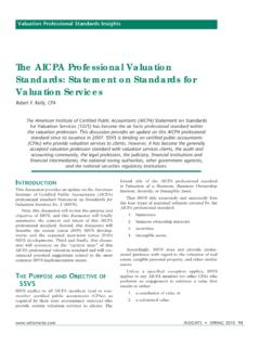 The AICPA Professional Valuation Standards: Statement on ...