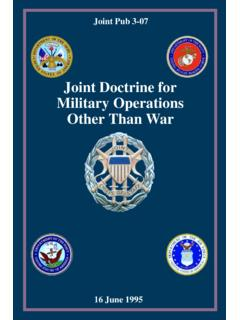 JP 3-07 Joint Doctrine For Military Operations Other Than …