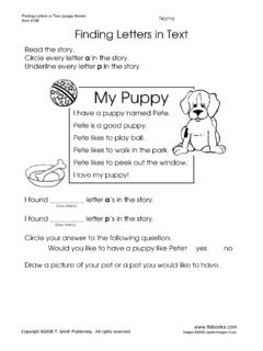 Finding Letters In Text - My Puppy - tlsbooks.com