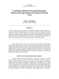 Curriculum Models for Preschool Education: Theories and ...