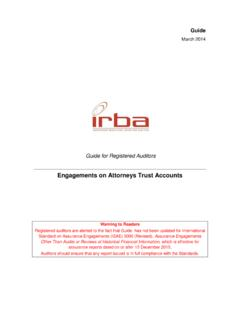 Engagements on Attorneys Trust Accounts - IRBA
