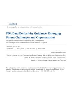 FDA Data Exclusivity Guidance: Emerging Patent …