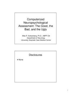 Computerized Neuropsychological Assessment: …