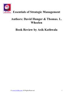 Essentials of Strategic Management Authors: David Hunger ...