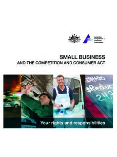 Small Business and the Competition and Consumer Act
