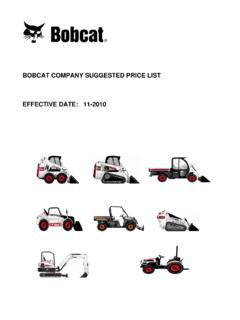 BOBCAT COMPANY SUGGESTED PRICE LIST EFFECTIVE DATE: …
