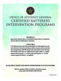 Office of Attorney General Certified Batterers ...