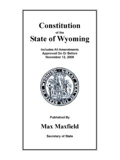 Constitution - Wyoming Secretary of State