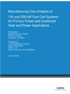 Manufacturing Cost Analysis of 100 and 250 kW Fuel Cell ...