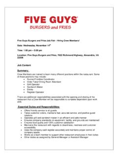 Five Guys Burgers and Fries Job Fair - Hiring Crew Members ...