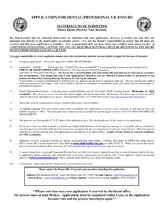 APPLICATION FOR DENTAL/PROVISIONAL LICENSURE