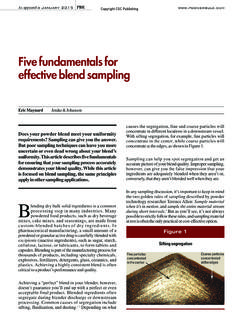 Five fundamentals for effective blend sampling - Jenike