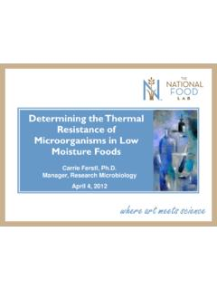 Determining the Thermal Resistance of Microorganisms in ...
