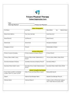 Patient Registration Form - Tricare Physical Therapy