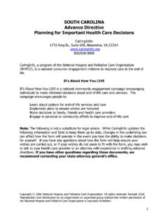 SOUTH CAROLINA Advance Directive Planning for …